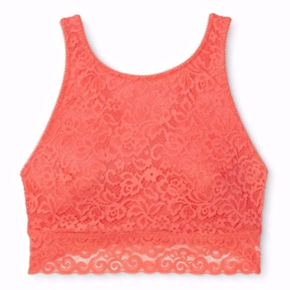 fb788fd3e05 Coral High Neck Crossback Lace Bralette